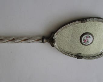 Vintage Brass & Glass Beveled Hand Mirror Floral Porcelain Inset Glass Handle Antique Ornate Mirror