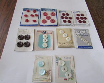10 Vintage Small Illustrated Button Cards Mother of Pearl 50's Plastic Button Card