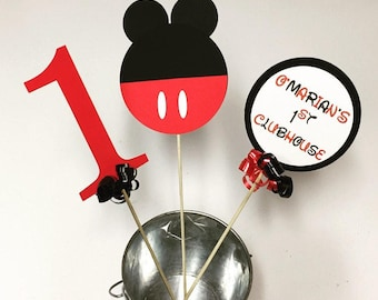 Personalized Mickey Mouse Birthday Party Decoration, Mickey Mouse Centerpiece or Mickey Mouse Cake Topper-Set of 3 Pieces