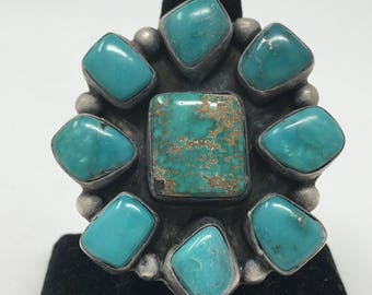 Native American Sterling Silver Natural Carico Lake Turquoise Navajo Handmade Cluster Ring By Ella Peters