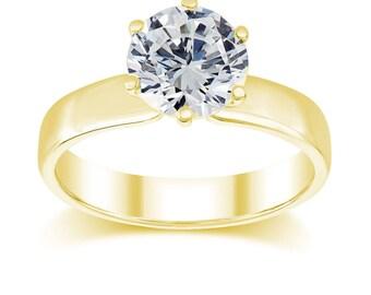 2 Carat Solitaire Fashion Ring D / VS2 Round Shape Diamond 14K White Gold 2.80 Gram Certified