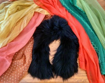 Vintage Lot of 7 Colourful Sheer Scarves and Fur Collar