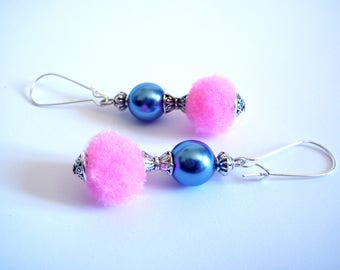 Summer earrings, tassels blue pearls