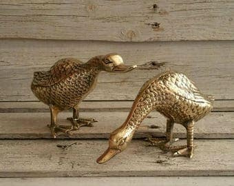 Vintage  Brass Duck Figurines, Set Of 2, Brass Home Decor, Duck Collectible Figurines