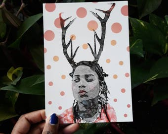Postcard, portrait, fantastic, deer