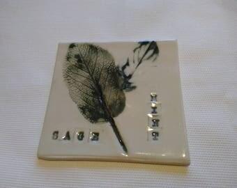 Porcelain Coaster/Tile -  Imprint leaves