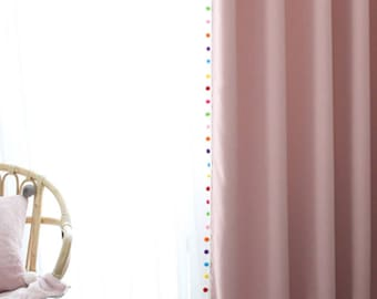 Adorable Pom Pom Pink Curtain Drapery Panel