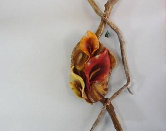 Calla Lily sensual flower sculpture, floral art, earthy rustic home decor, fertility, abundance, wall or table, altar