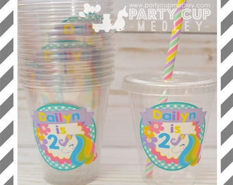 Unicorn Birthday Party Cups, Lids & Straws or Favor Cups with Dome Lids