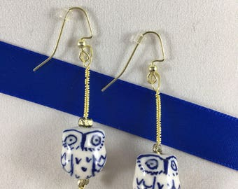 White and Blue Porcelain Owl Drop Earrings