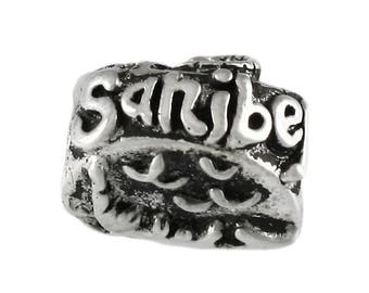 Sanibel Island Map and Gator Large Hole Sterling Silver Bead - Compatible with ALL Popular Bracelet Brands - Made in the USA! - Item #13935