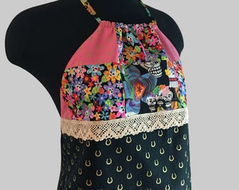 Fun Summer Reversible Halter !!! Backless. Party top. Tie-dye