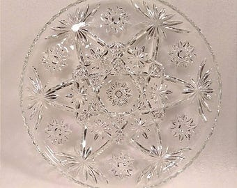 Vintage Anchor Hocking Star of David Pressed Glass Serving Platter