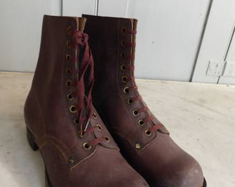 Antique French childs brown leather hobnailed boots size 34 display only