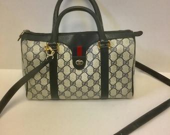 Auth Vintage GUCCI SPeedy Doctor tote handbag bag crossbody messenger W/long strap web tab GG 1980's with COA tag