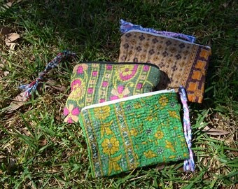 Vintage KANTHA jewellery POUCH cute cosmetics toiletries travel bag / Indian coin card purse with tassel / OOAK small green pink yellow