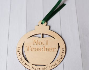 Teacher's Present Wooden Coaster Or Hanging Decoration