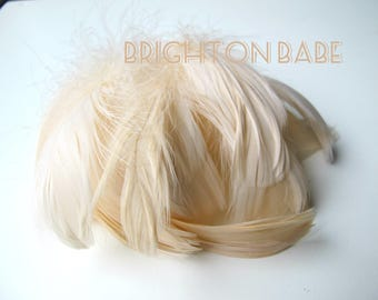 20 pcs Champagne feathers - Cream colour feathers - Ivory feathers - Natural feathers - Craft feathers - Goose feathers. UK Seller