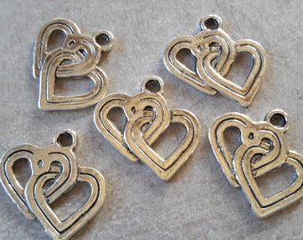 Charms hearts charms double hearts, silver, 18 x 18 mm