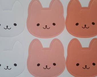 12 pcs, stickers pink rabbits, children Stickers, animal stickers, decals white bunny rabbits pink