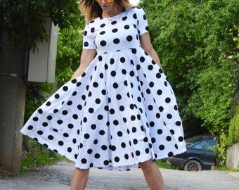Sexy Polka Dots Dress, Women Midi Dress, Plus Size Extravagant Dress, Cotton  Party Dress by SSDfashion