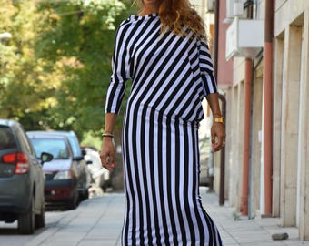 Woman Kaftan Dress, Black And White Striped Dress, Plus size Kaftan, Elegant Casual Dress, Extravagant Comfortable Dress by SSDfashion
