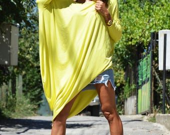 Extravagant Yellow Tunic, Asymmetric Dress, Summer Kaftan Tunic, Casual Top, Oversize Loose Tunic, Plus Size Sleeves Top by SSDfashion