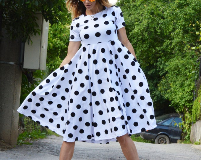 Sexy Polka Dots Dress, Womens Midi Dress, Plus Size Extravagant Dress, Party Dress, Daywear Cotton Dress by SSDfashion