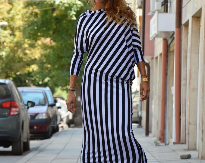 Women Kaftan Dress, Black And White Striped Dress, Plus size Kaftan, Elegant Casual Dress, Extravagant Comfortable Dress by SSDfashion