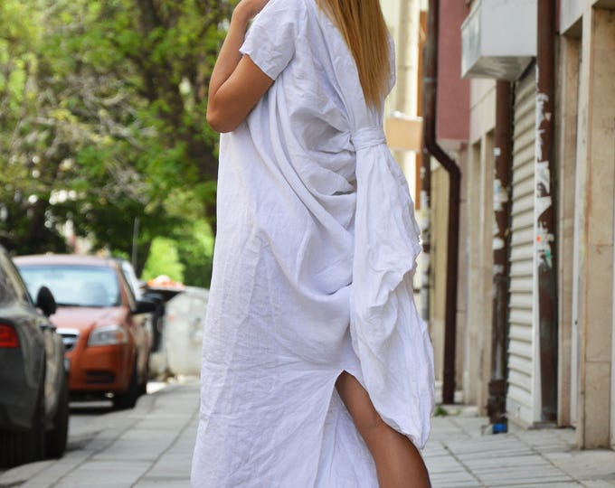 Extravagant Design Long Linen Dress, Short Sleeves Party Dress, Plus Size Maxi Dress by SSDfashion