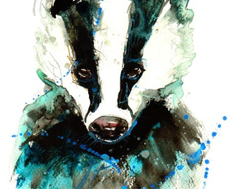 Badger print Contemporary Watercolour ART PRINT Original LIMITED Edition Signed Watercolour 300 gsm Paper Free Shipping United Kingdom