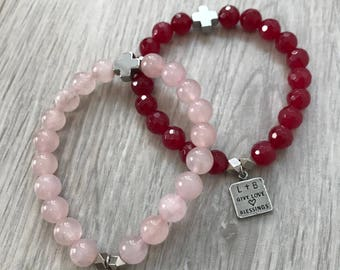 Give Love + Blessings Signature Double Decade Rosary Bracelet in Rose Quartz or Red Agate Semi Precious stones