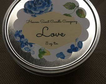 Love handpoured soy wax 8oz tin candle