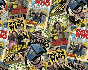 Doctor Who Comic Book Toss Cotton Woven, Doctor Who Fabric, Dr Who Fabric, Doctor Who Comic Fabric, Dr Who Tardis Fabric, Cotton Woven