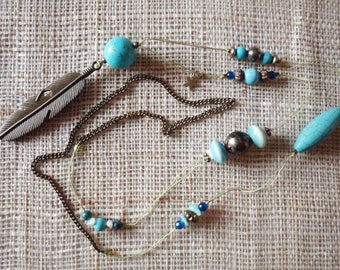 Turquoise and brass bohemian necklace