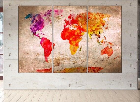 Red world map print world map  print red world map canvas wall art red world map large canvas wall art print