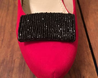 Vintage black beaded shoe clips