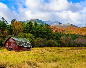 Old Barn Photo, Keene Valley Barn, Adirondack Photograph, Fall Foliage, Landscape Art, Mountain Photo, Nature Print, Keene Valley Photo