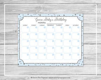 Blue and Silver Baby Shower Guess Baby's Birthday - Printable Baby Shower Guess Baby's Birthday Game - Blue and Silver Baby Shower - SP151