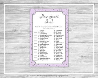 Purple and Silver Baby Shower How Sweet It Is Game - Printable Baby Shower How Sweet It Is Game - Purple Silver Confetti Baby Shower - SP153