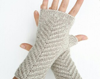 Knit arm warmers beige fingerless gloves knitted hand warmers women's mittens wool mitts