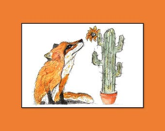 Fox and Cactus Print, fox print,nursery print,fox art,quirky fox print,quirky fox art,fox painting,fox nursery print,funky fox print, fox