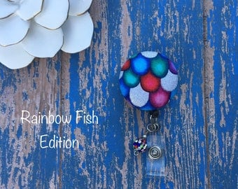 Rainbow Fish -Nurse Retractable ID Badge Reel/ RN Badge Holder/Doctor Badge Reel/Nurse Badge Holder/Student Nurse badge reel/ nursing gift/