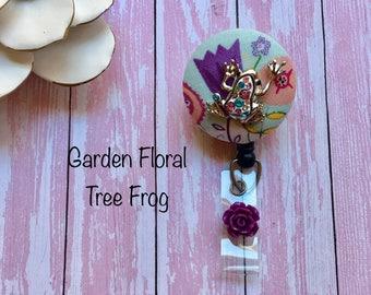 Garden Tree Frog -Nurse Retractable ID Badge Reel/ RN Badge Holder/Doctor Badge Reel/Nurse Badge Holder/Student Nurse badge reel/ nursing gi