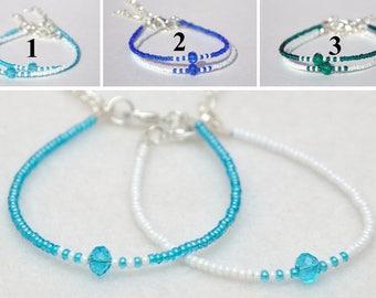 Best friend gift for best Friend bracelet Friendship bracelet Aquamarine Beaded bracelet white Bead bracelet Simple bracelet Tiny bracelet