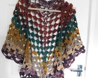 Lacy Autumn / Fall shawl - light weight - 100% acrylic