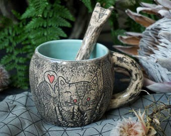 Ceramic Mug and spoon Cat Set, handmade pottery rustic (makes after order)