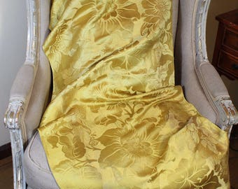 18th Century French Lyon Silk Damask Flowers Yellow Gold