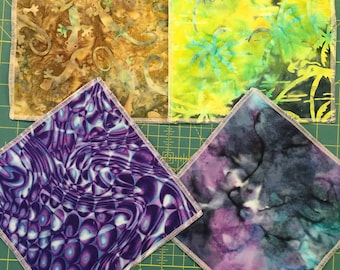 8 x 8 inch Organic BAMBOO VELOUR Gecco Tie Dyed Cotton Print Wash Cloths (4)