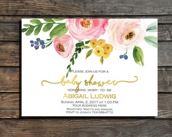 Girl baby shower invitation Floral baby shower invitation Baby shower invites Blush gold watercolor pink girl Pink Boho Girl Baby Invite